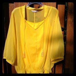 Bright Yellow Sheer Top w/ Tank